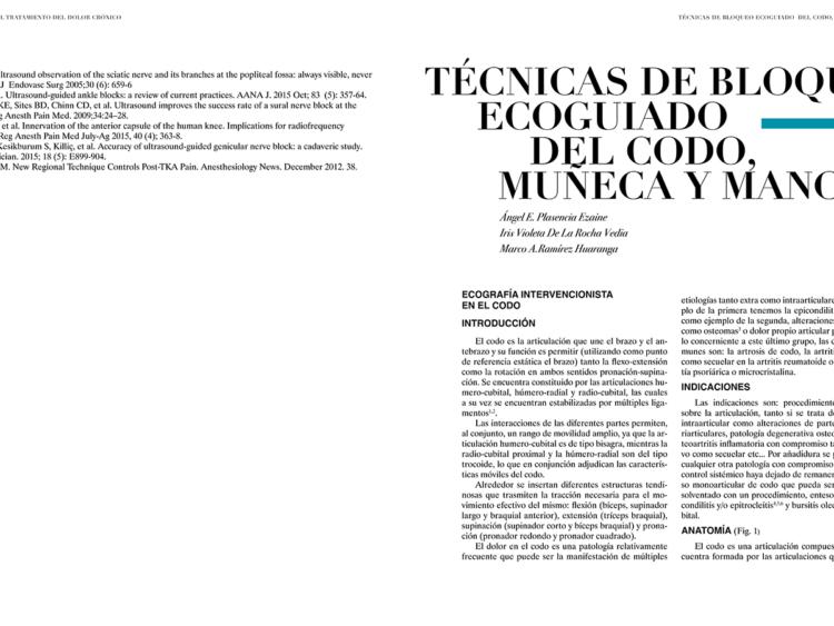TÉCNICAS DE BLOQUEO ECOGUIADO DEL CODO, MUÑECA Y MANO ECOGRAFÍA INTERVENCIONISTA EN EL CODO