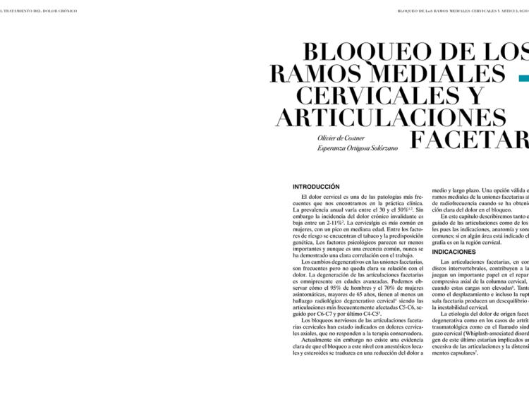 BLOQUEO DE LOS RAMOS MEDIALES CERVICALES Y ARTICULACIONES FACETARIAS